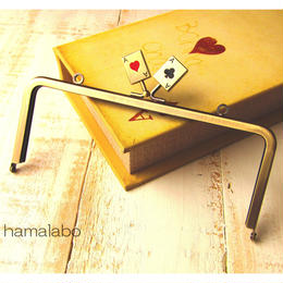 【HA-461】18cm角型の口金(トランプ×アンティークゴールド)・カン付き