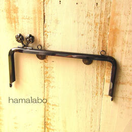 【HA-1109】<横ひねり>18cm/角型(肉球/ブラック)・カン付き