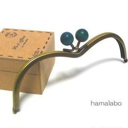 【HA-110】メガネ型(紺色の木玉×アンティークゴールド)