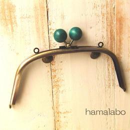 <廃盤予定>【HA-160】18cm/くし型(ちょっと大きな紺色の木玉×アンティークゴールド)・カン付き