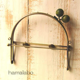 【HA-384】16cmベンリー口金/(ちょっと大きな抹茶色の木玉×アンティークゴールド)・カン付き