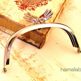 【HA-489】10cmくし型/「天使の羽」の口金(シルバー)