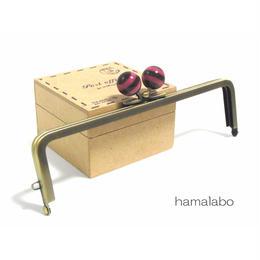 <廃盤予定>【HA-1254】16.5cm/角型(ピンク×ブラウンのボーダー)・アンティークゴールド