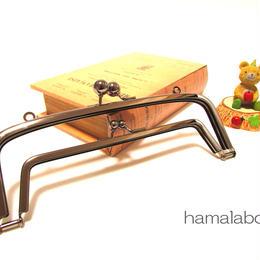 【HA-348】<廉価版>親子口金 19cm(アメ玉×ブラック)・カン付き