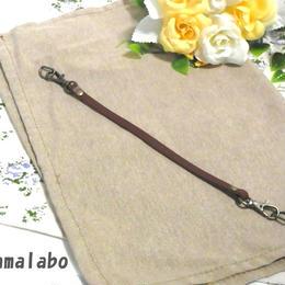 【HA-545】がま口用の革紐(かわひも)23cm(茶色×アンティーク金具)