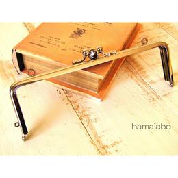 【HA-464】三枚口(二口口金)19cm/(竹の根ひねり×シルバー)・カン付き