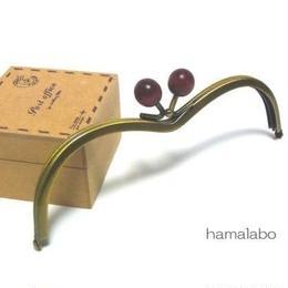 <廃盤予定>【HA-109】メガネ型(エンジ色の木玉×アンティークゴールド)