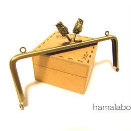 【HA-1295】フクロウの口金15cm/角型(アンティークゴールド)・カン付き