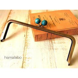 【HA-494】24cm角型口金(ちょっと大きな紺色の木玉×アンティークゴールド)+(プラス)