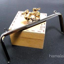【HA-1267】ウサギの口金15cm/角型(ゴールドウサギ×シルバー)・カン付き