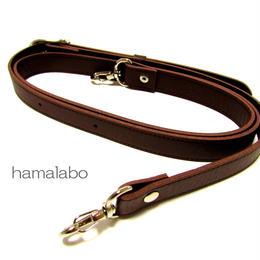 【HA-528】がま口バッグ用の肩下げ(ショルダーベルト茶色)-太め-シルバー金具