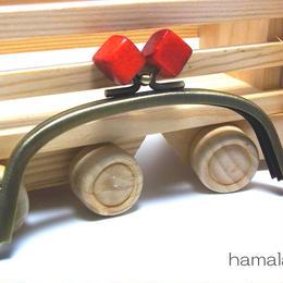 <廃盤予定>【HA-1415】12.5cm/くし型(オレンジ色の木キューブ×アンティークゴールド)