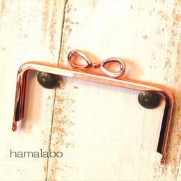 9月7日販売開始!【HA-1433】リボン口金/12cm角型(ローズゴールド-ピンクゴールド)