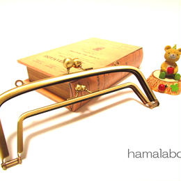【HA-349】<廉価版>親子口金 19cm(アメ玉×アンティークゴールド)・カン付き