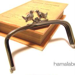 <廃盤予定>【HA-153】三枚口(二口口金)12cm/(小鳥のピースケ×シルバー)