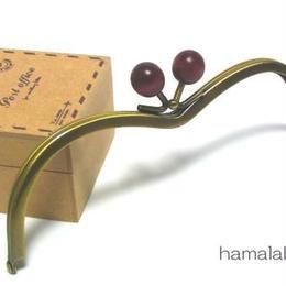 【HA-109】メガネ型(エンジ色の木玉×アンティークゴールド)