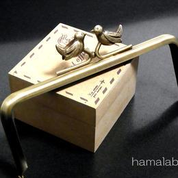 【HA-130】小鳥のピースケ口金15cm/角型(アンティークゴールド)・カン付き