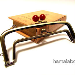 【HA-359】<廉価版>親子口金 19cm(べっ甲玉×アンティークゴールド)・カン付き