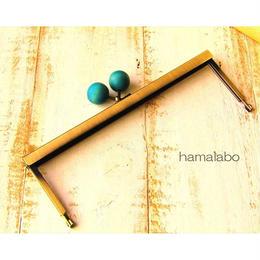 2月13日販売開始!【HA-1537】19cm浮き足口金/ちょっと大きな紺色の木玉(アンティークゴールド)