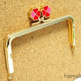 5月16日販売開始!【HA-1424】幸せの四つ葉のクローバー口金(12cm角型ゴールド×レッド)