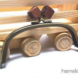 【HA-1414】12.5cm/くし型(茶色の木キューブ×アンティークゴールド)