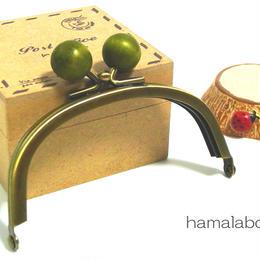 【HA-1386】10cm/くし型(抹茶色の木玉×アンティークゴールド)