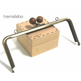 【HA-114】18cm木玉/角型(茶色の木玉×アンティークゴールド)・カン付き