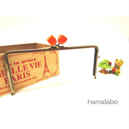 <廃盤予定>【HA-1363】22cm/角型ノブ(オレンジマーブル×アンティークゴールド)