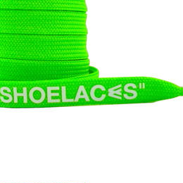 """FLAT LACES SOLID """"SHOELACES / NEON GREEN WH"""""""