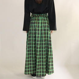 【先行予約】thomas magpie tartan check long skirt green