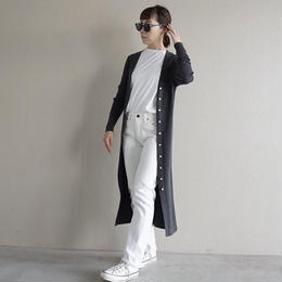 【先行予約】thomas magpie rib long cardigan c,grey