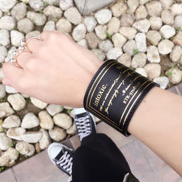 happiness leather cuff  black