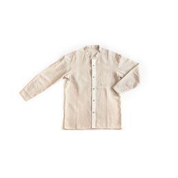 [メンズシャツ]リネン/生成(前立て白)