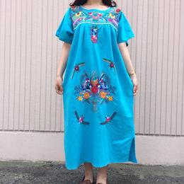 メキシカン刺繍ワンピース(ターコイズブルー)