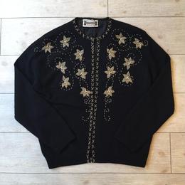 vintage 1960's ブラック  ビーズ刺繍カーディガン