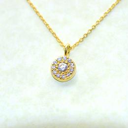 4月誕生石ダイヤモンド ストーンサークル ペンダントネックレス K18YG(18金イエローゴールド)