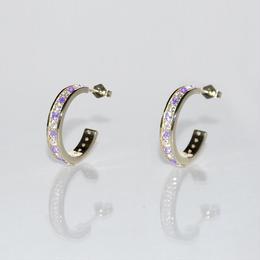 12月誕生石タンザナイト&ダイヤモンド エタニティフープピアス K18WG(18金ホワイトゴールド)