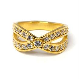 4月誕生石ダイヤモンド インターセクトリング K18YG(18金イエローゴールド)
