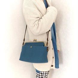 新色💕荷物持ちさんのための✨がま口帆布ショルダーバックL ミネラルブルー(単色)