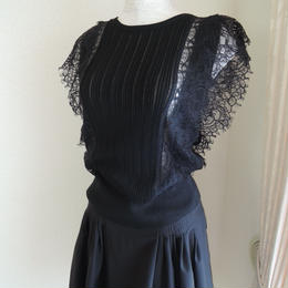 black knit lace tops