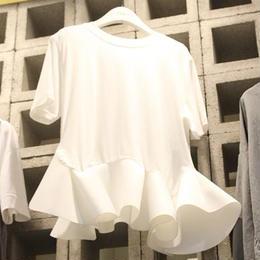 【即配】裾フリルデザインTシャツ