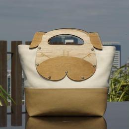 パグの木製ハンドルミニト-トバッグ