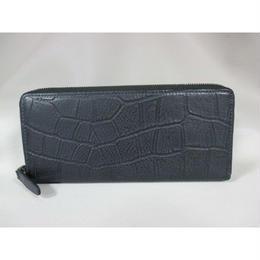 イタリア革 ワニ柄型押し 熱加工牛革 ラウンドジッパータイプ長財布