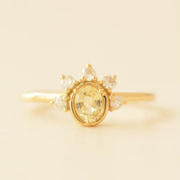 Yellow Sapphire/Diamond Ring