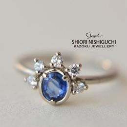 Sapphire Diamond Ring #11 (K18WGN)