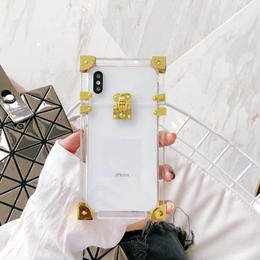 LVアイトランク風 クリスタル 透明iPhoneケース