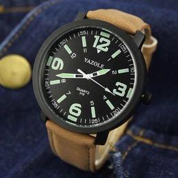 【暗いと光る!】メンズ腕時計 YAZOLE ルミナス 防水 スポーツ腕時計 防水 スポーツ クォーツ 海外ブランド