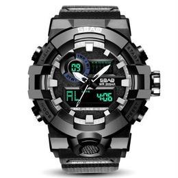 2018年最新作 LEDデジタル ディスプレイ メンズスポーツ 腕時計 ミリタリー 防水 カレンダー アラーム ラバーストラップ