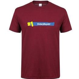 フォートナイト プリントTシャツ ユニセックス カジュアル半袖Tシャツ トップス ワインレッド2