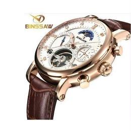 [Binssaw]トゥールビヨン 海外高級ハイファッションブランド 本革 多機能腕時計 日本未発売モデル 大人の時計 希少 オートマティック